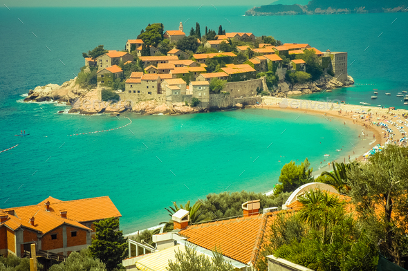 Sveti Stefan peninsula, small islet in the Mediterranean coast, Montenegro - Stock Photo - Images