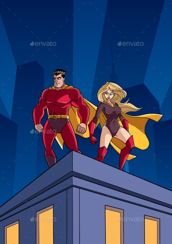 Superhero Couple Roof Watch - People Characters