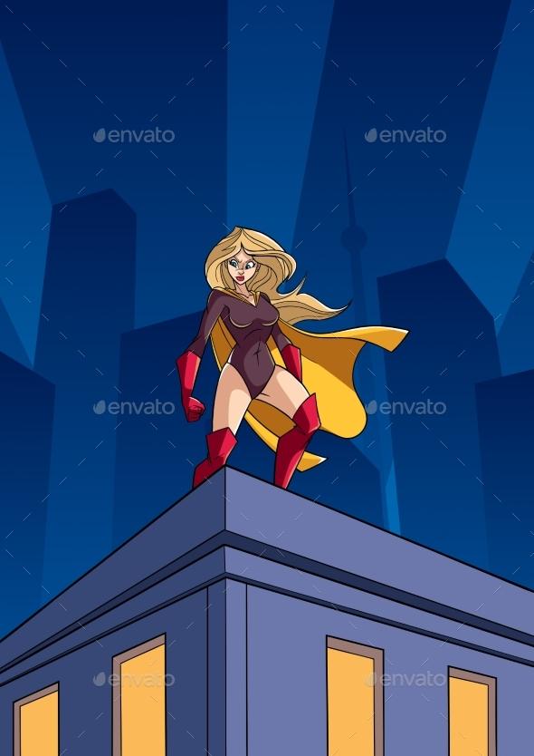 Superheroine Roof Watch - Buildings Objects