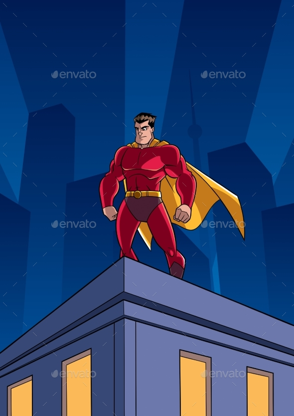 Superhero Roof Watching - Characters Vectors
