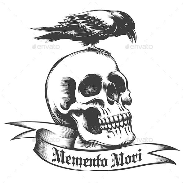 Skull and Crow - Tattoos Vectors