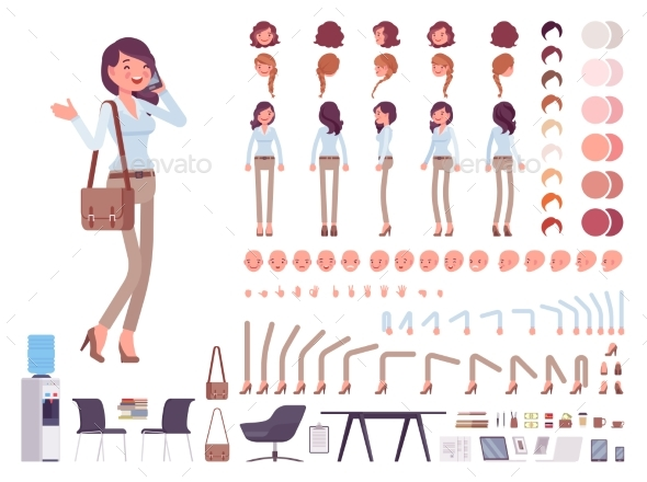 Casual Woman Character Creation Set - People Characters