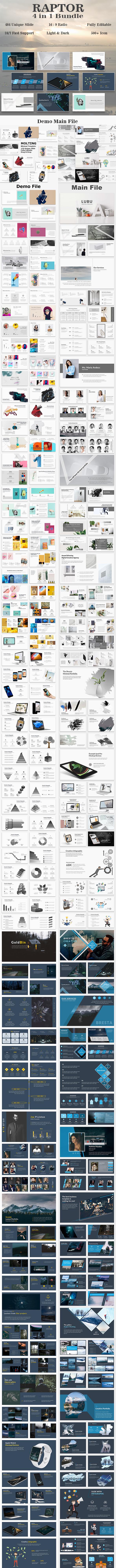 Raptor Bundle 4 in 1 Minimal Keynote Template - Creative Keynote Templates