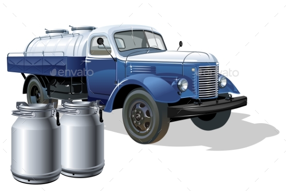 Vector Retro Delivery Milk Tanker Truck - Man-made Objects Objects