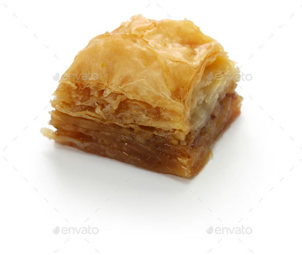 walnut baklava, turkish traditional dessert isolated on white background - Stock Photo - Images