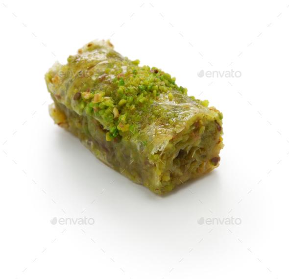 pistachio rolls baklava, fistikli sarma, turkish traditional dessert isolated on white background - Stock Photo - Images