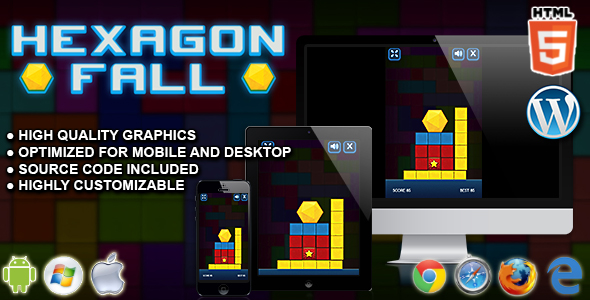 Hexagon Fall - HTML5 Skill Game - CodeCanyon Item for Sale
