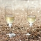 Two Glasses of Champagne Stand on the Sand with Small Shells By the Sea - VideoHive Item for Sale