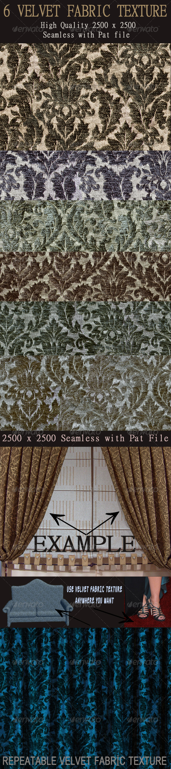 6 Seamless Velvet Fabric Textures - Fabric Textures