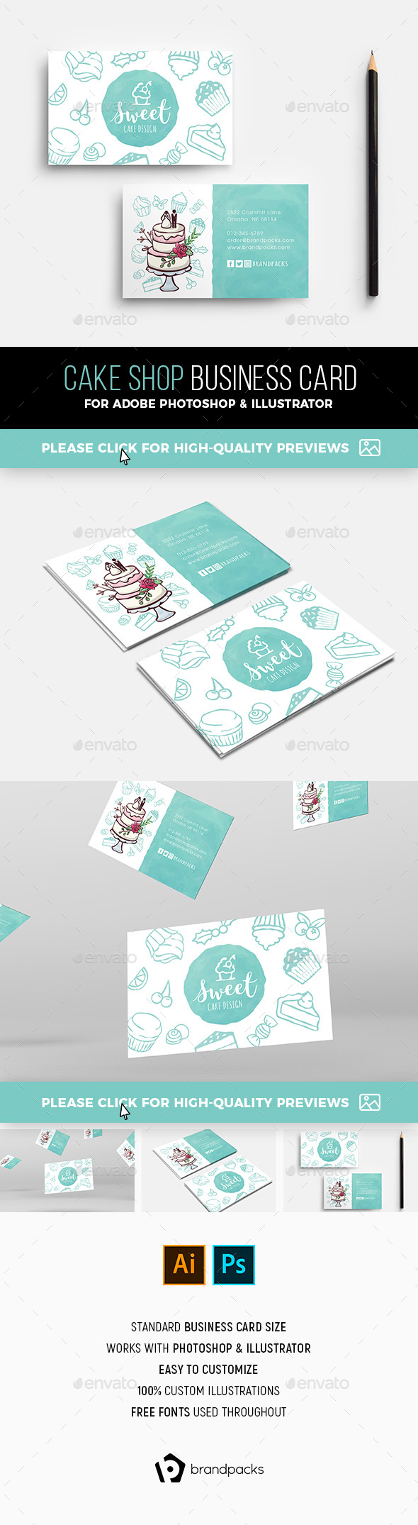 Cake Shop Business Card Template - Industry Specific Business Cards