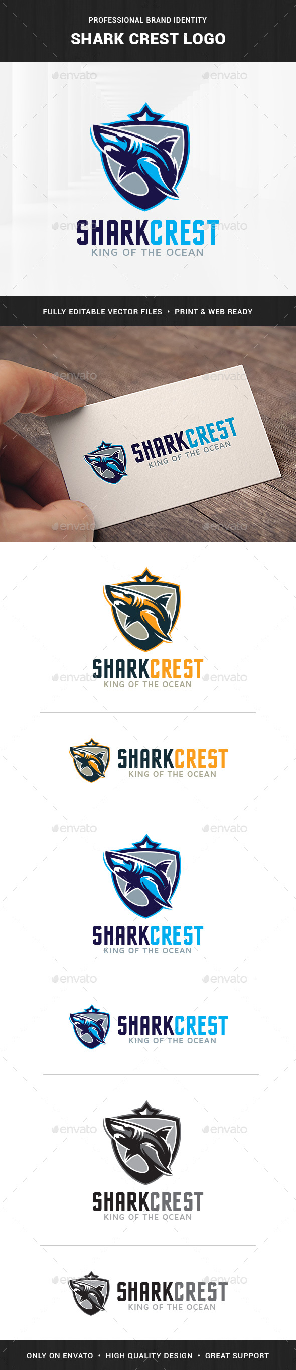 Shark Crest Logo Template - Animals Logo Templates