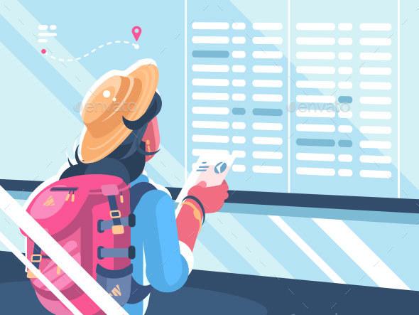 Girl Traveler Watch Schedule of Flights - People Characters