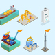 Isometric Natural Gas Industry Elements Set
