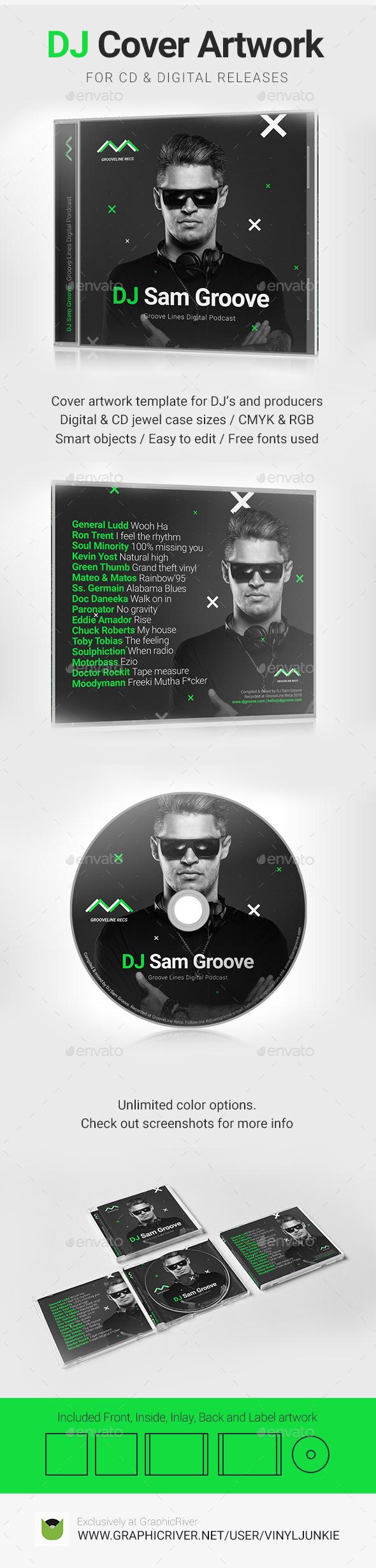 GrooveLine - DJ Mix / Album CD Cover Artwork PSD Template - CD & DVD Artwork Print Templates