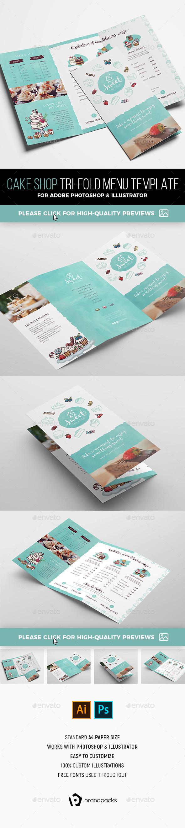 Cake Shop Tri-Fold Brochure Template - Informational Brochures