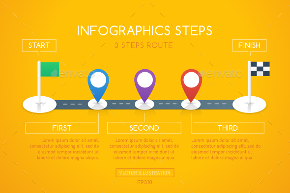 Milestone Infographics - 3 Steps - Infographics