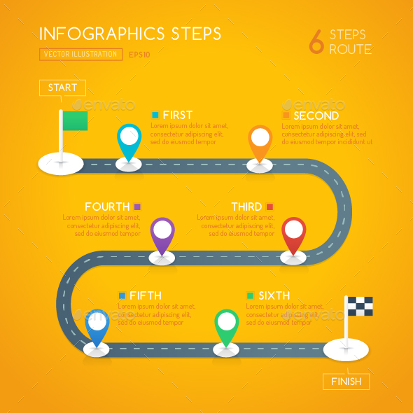 Milestone Infographics - 6 Steps - Infographics