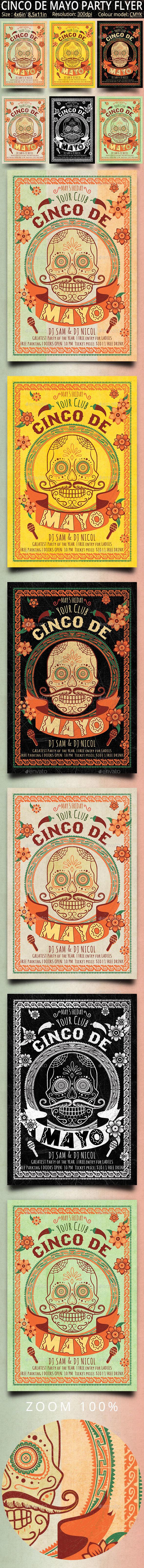 Cinco de Mayo Retro Vintage Flyer - Events Flyers