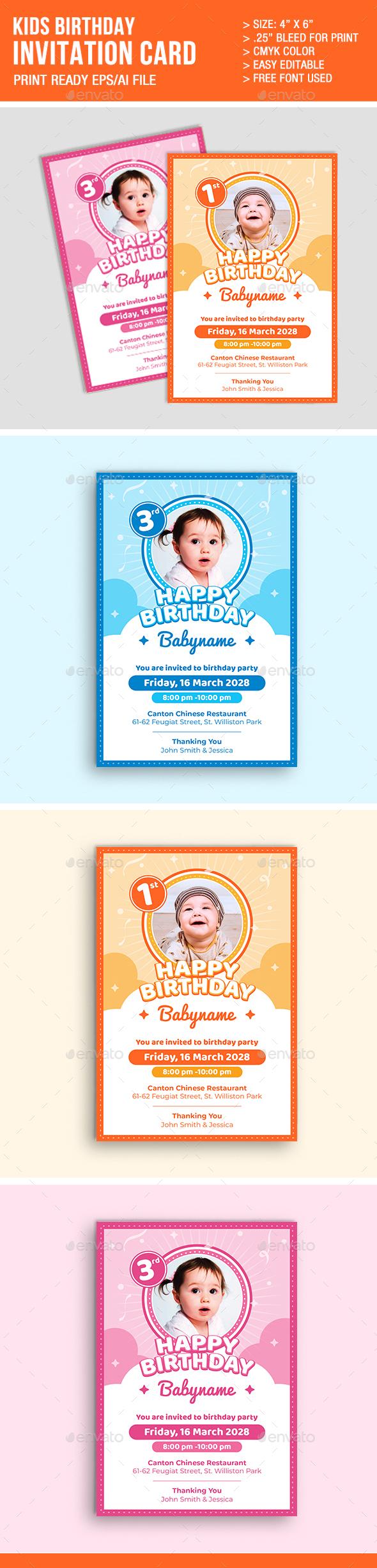 Kids Birthday Invitation Card - Invitations Cards & Invites