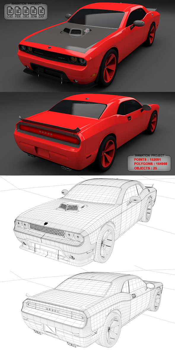 Dodge Challenger SRT10 with Full Textures & Materials - 3DOcean Item for Sale