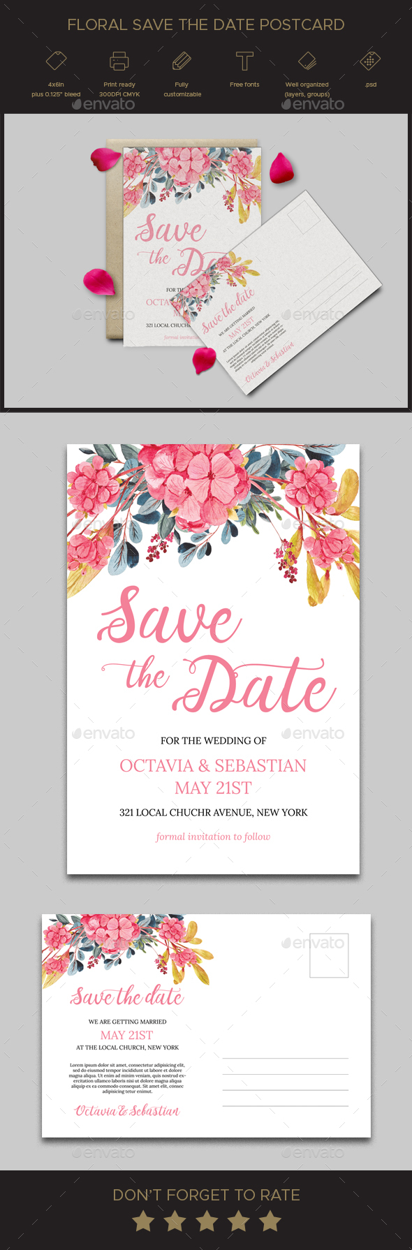 Floral Save the Date Postcard - Weddings Cards & Invites