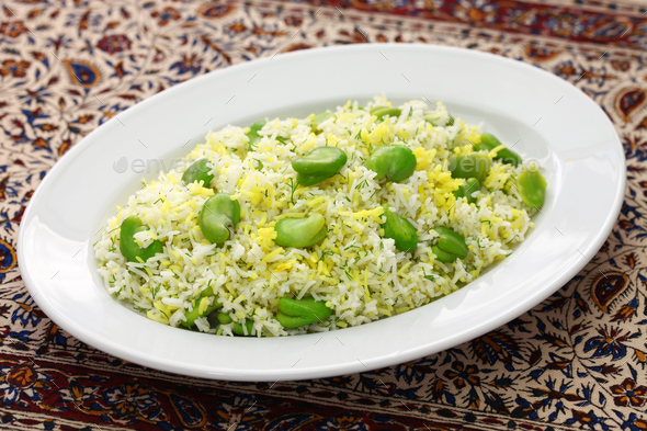 baghali polo, fava beans rice, iranian cuisine - Stock Photo - Images
