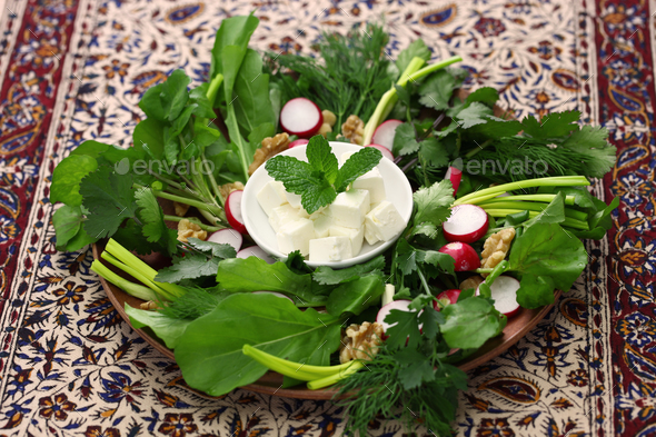 sabzi khordan, assortment of fresh herbs and raw vegetables salad, iranian cuisine - Stock Photo - Images