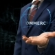 Businessman Shows Concept Hologram Commerce on His Hand - VideoHive Item for Sale