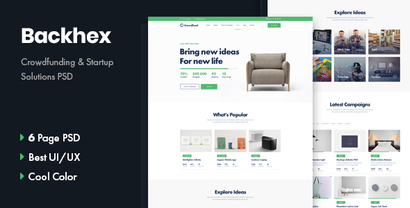 Backhex - Startup & Crowdfunding PSD Template - Charity Nonprofit