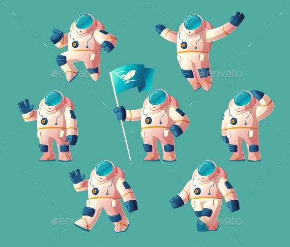 Vector Set of Cartoon Spacemen - People Characters