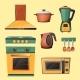 Vector Cartoon Set of Household Kitchen Appliances
