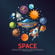 Cartoon Space Round Concept - GraphicRiver Item for Sale