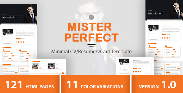 Mister Perfect - Minimal CV/Resume/vCard Template - Virtual Business Card Personal