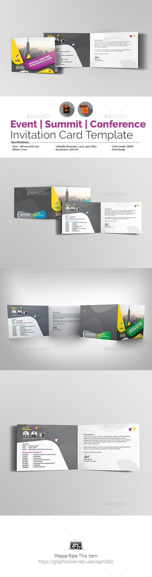 Event / Summit / Conference Invitation Card - Cards & Invites Print Templates