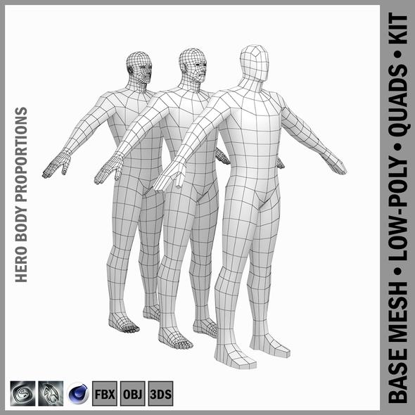 Male Hero Low Poly Base Mesh in A-Pose - 3DOcean Item for Sale
