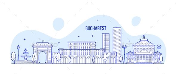 Bucharest Skyline Romania City Buildings Vector - Buildings Objects