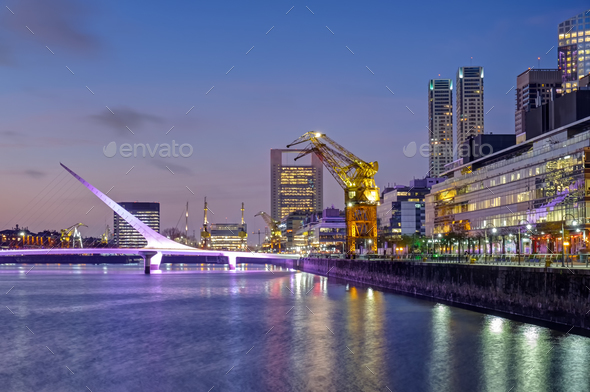 Puerto Madero and the Puente de la mujer in Buenos Aires - Stock Photo - Images