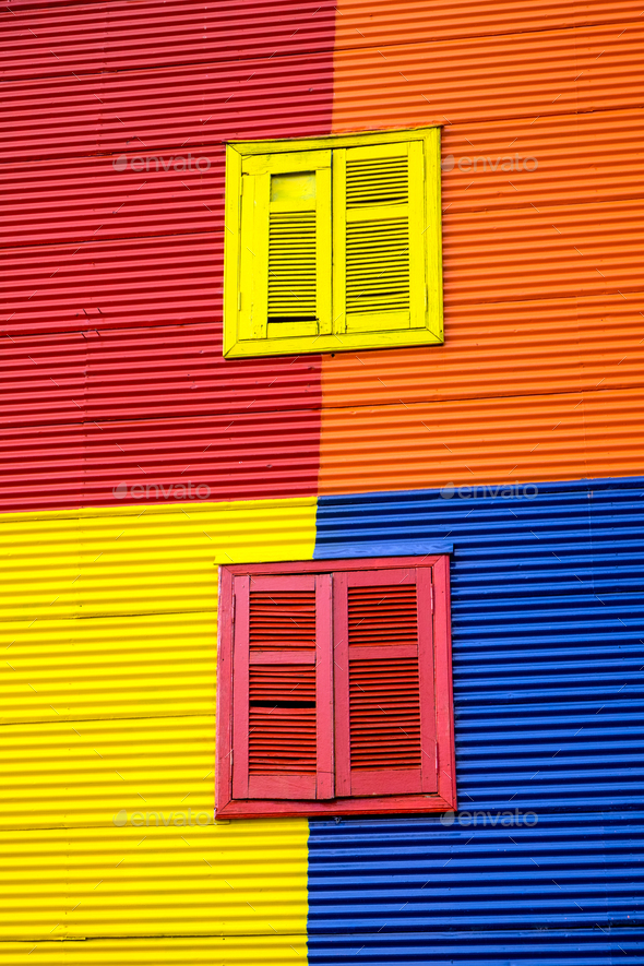 One of the colorful facades of La Boca  - Stock Photo - Images