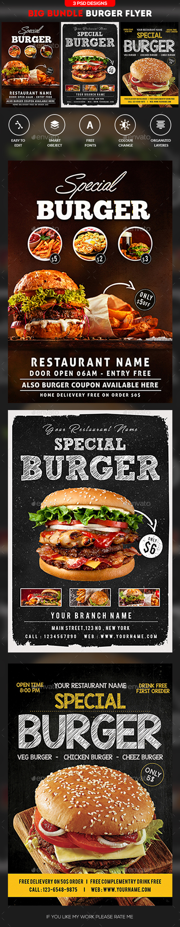 Burger Steak Flyer Bundle - Restaurant Flyers