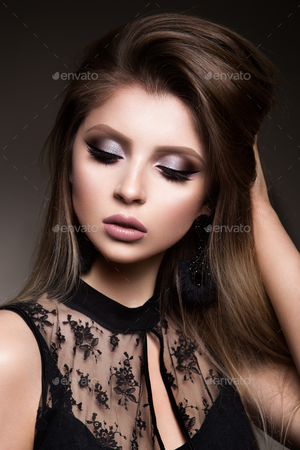 Beauty Woman face Portrait. Beautiful model Girl with Perfect Fresh Clean Skin - Stock Photo - Images