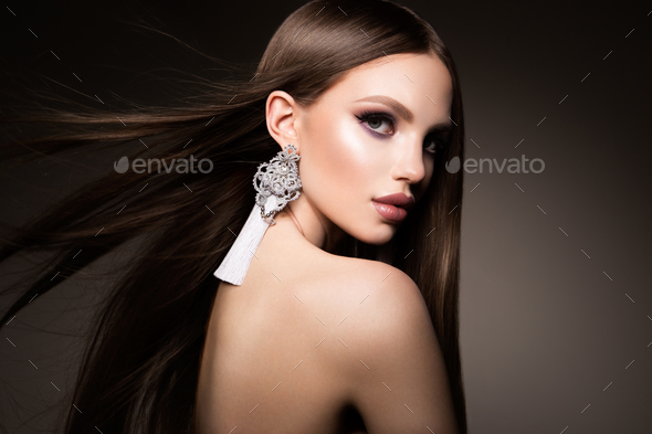 Hair. Beauty Woman with Very Long Healthy and Shiny Smooth Brown Hair. Model Brunette Gorgeous Hair - Stock Photo - Images