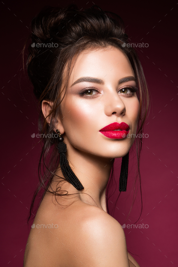 Gorgeous Young Brunette Woman face portrait. - Stock Photo - Images