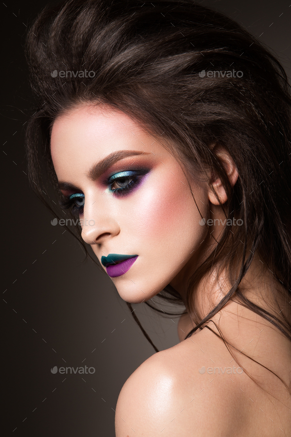 Beautiful young female face - Stock Photo - Images