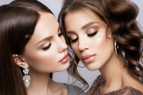 Beautiful girls with professional make up - Stock Photo - Images