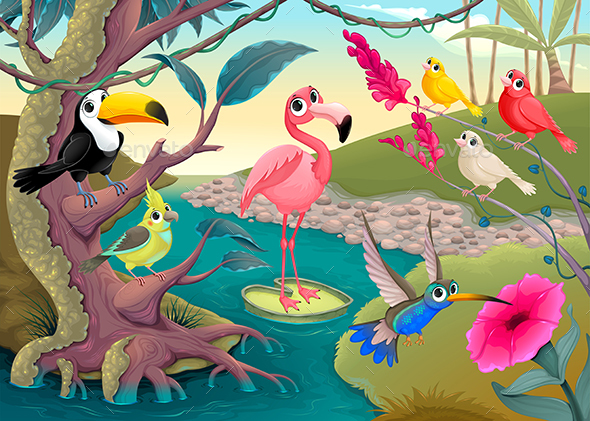 Group of Tropical Birds in the Jungle - Animals Characters