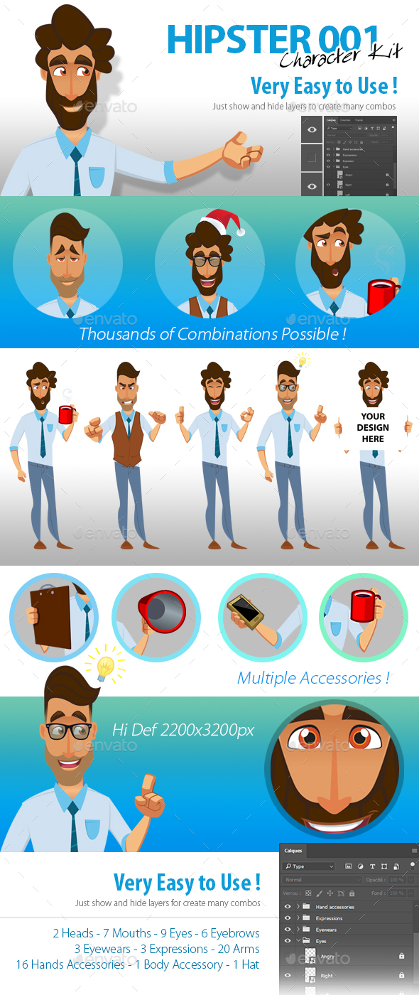 PSD Character Kit : Hipster 1 - People Illustrations