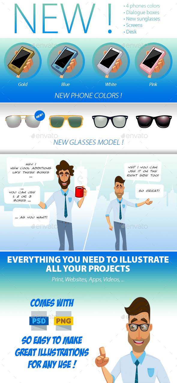 PSD Character Kit : Hipster 1 - 1
