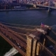 Aerial Real Time View of Brooklyn Bridge with American Flag Flapping in the Wind - VideoHive Item for Sale