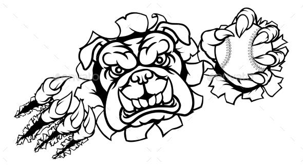 Bulldog Baseball Sports Mascot - Sports/Activity Conceptual