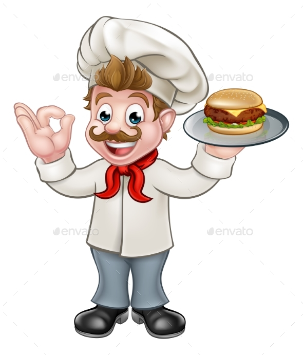 Chef Holding Burger Cartoon Character - Food Objects